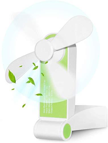 Etmury Tragbarer Mini Lüfter Klein Faltbarer Handventilator Wieder aufladbarer persönliche Taschenventilator Batterie betriebener Reise Ventilator USB Schreibtisch-Fan für Büro, Haus, Outdoor