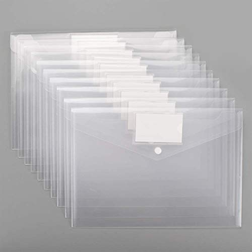 Plastic Envelopes Poly Envelopes, Sooez 20 PACK Clear Document Folders US Letter A4 Size File Envelopes with Label Pocket & Snap Button for Home Work Office Organization, Clear