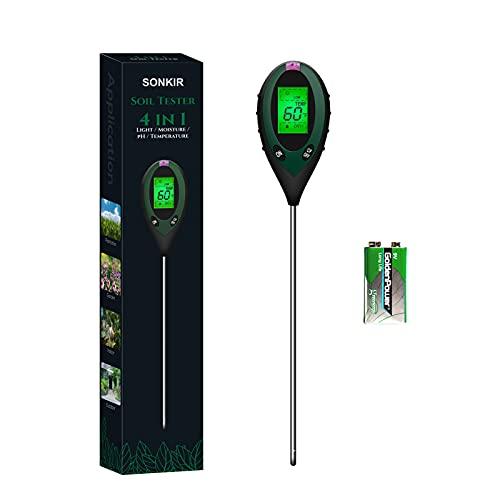 Sonkir Medidor de pH de Suelo, 4 en 1, medidor de Humedad/luz/pH/Temperatura del Suelo, Kits de Herramientas de jardinería para el Cuidado de Plantas, para jardín, césped, Batería incluida (Verde)