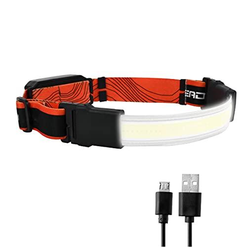 NEX&CO 広角 210度 ヘッドランプ 充電式防水ledヘッドライト、COB ブロードビームLEDヘッドランプ 超薄型丈夫な弾性ヘッドバンド、キャンプ、狩猟、ランナー、ハイキング、アウトドア、釣り、350ルーメン、3モード 、40灯のLEDライト 強力なライトストリップ