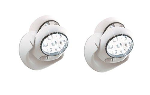 EASYmaxx LED-Leuchte Spot 6V mit Bewegungsmelder (Kabellos, Sicherheitsleuchte, Selbstklebend, 6 Meter Sensor Distanz, 7 Extra Helle LED) (2er Set)