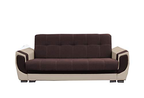 mb-moebel Modernes Sofa Schlafsofa Kippsofa mit Schlaffunktion Klappsofa Bettfunktion mit Bettkasten Couchgarnitur Couch Sofagarnitur 3er Lilly (Braun)