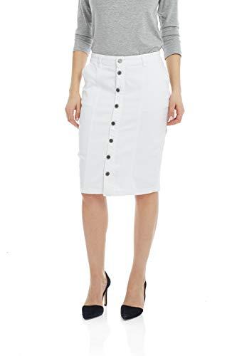 ESTEEZ Women's Denim Pencil Skirt - Button Down Stretch Jean Montreal White 10