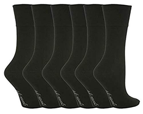 6 Paires de chaussettes en coton Sock Shop Gentle Grip Chaussettes RG51 Noir 39-45