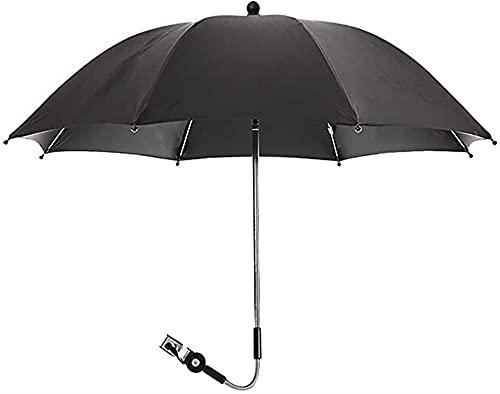 LIUPING Parasol Universal UV Parasol para Cochecitos Y Cochecitos, Paraguas con Clip para Cochecito, Parasol para Cochecito De Bebé con Abrazadera De Fijación Ajustable (Color : Black, Size : 85cm)