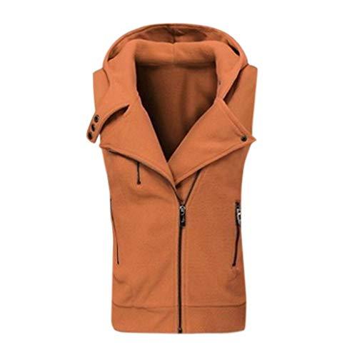 KPILP Damen Weste Outdoor Weste Herbst Winter Warm Ärmellos Mantel Casual Revers mit Kapuze Reißverschluss Jacke Outwear Bluse Winterweste Parka