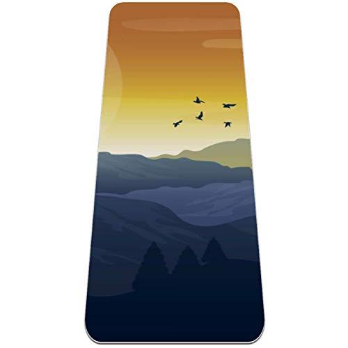 Eslifey Mountain Scenery - Esterilla de yoga con diseño de pájaros voladores para mujeres y niñas (182,8 x 60,9 cm, 1/4 pulgadas de grosor)