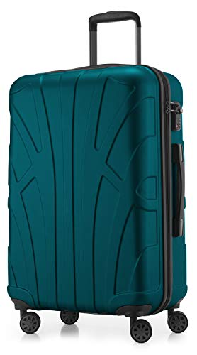 Suitline Hartschalen-Koffer Koffer Trolley Rollkoffer Reisekoffer, TSA, 66 cm, ca. 58 Liter, 100{32c7295db94a2a295878d9cbc70ec05b4ed8ece059ce0a78398fdbb7a1971ee8} ABS Matt, Aquagrün