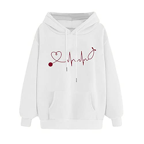Uqiangy Womens Classic Hooded Sweatshirt Cute Print Hoodie Autumn Winter Casual Sport Pullover Tops With Pocket,M-XXXL (C-White, 18)