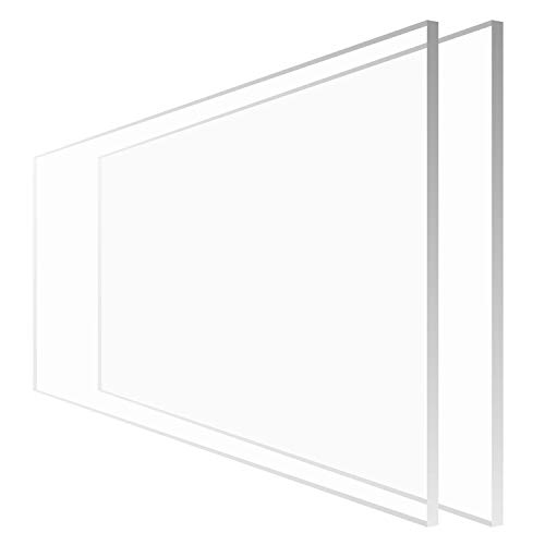 """2 Pack 24×48"""" Clear Plexiglass Sheet, Highly Versatile, Light Weight and High Impact Strength, Great Custom Sneeze Guard, Made in USA"""