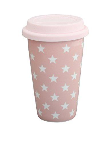 Krasilnikoff - Kaffee to Go Becher - Travel Mug - Rosa Sterne - Porzellan, Silikon - 350 ml