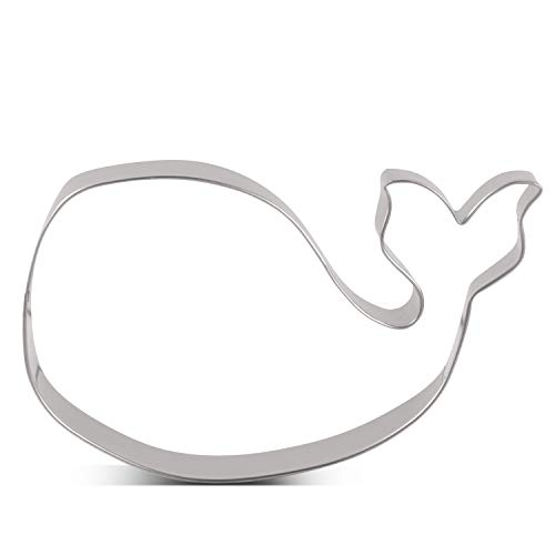 LILIAO Whale Cookie Cutter - 4.5 x 3 inches - Stainless Steel