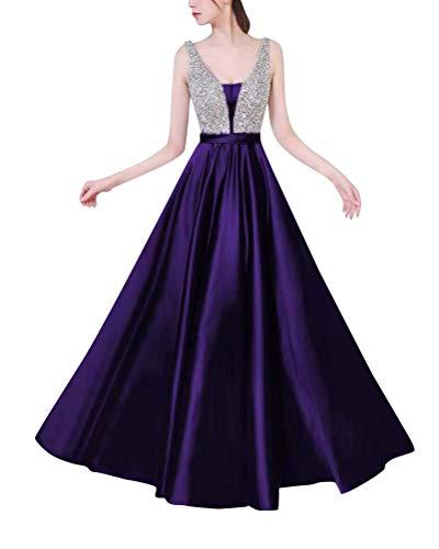 Minetom Abiballkleider Ballkleid Abendkleid Lang Neckholder Chiffon Strass Abschlusskleid Violett DE 44