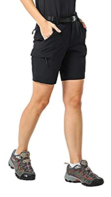 MIER Women's Stretchy Hiking Shorts Quick Dry Cargo Shorts with 6 Pockets, Water Resistant and Lightweight, Black, 4(Exclude Belt