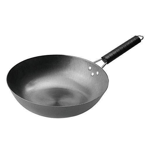 teppanyaki Grill, Carbon Steel Wok, Antistick Houten Handvat Platte Bodem, Geschikt voor Gas Fornuis Inductie Cooker Diameter 36cm Wok 36cm