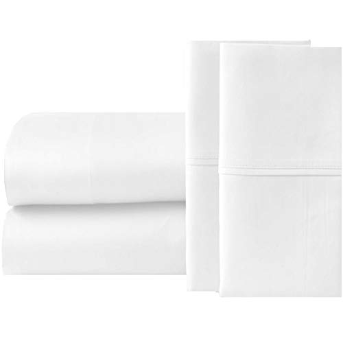 Queen Sheets Extra Deep Pockets 15 Inch 500 Thread Count 4 Piece Sheet Set 100% Cotton Sheet Set White Solid Sheet,Long Staple Cotton Bedsheet and Pillow Cover,Sateen Finish,Soft,Breathable