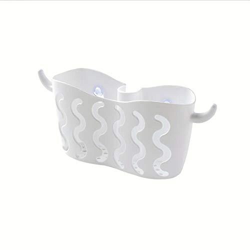 Husmniors Wasserhahn montiert Waschbecken Caddy Umweltfreundliche Spüle ordentlich für Schwamm Geschirrtuch Scrubbers Lagerung,Weiß