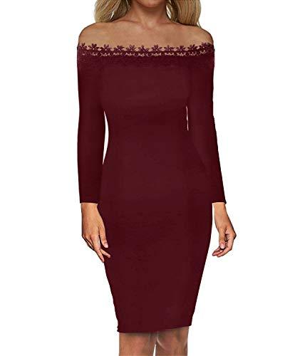 Auxo Damen Schulterfreie Langarm Kleider mit Spitze Elegant Blumen Kurz Abend Ballkleid 01-weinrot EU 42/Etikettgröße XL