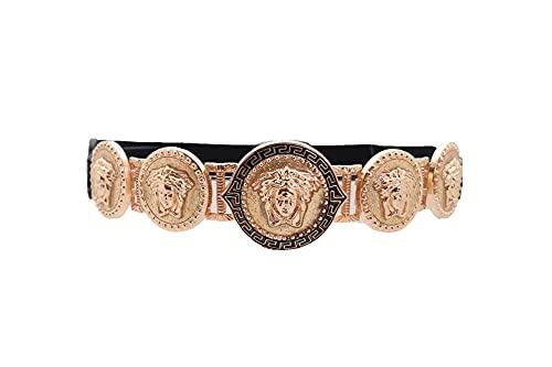 TFJ Women Fashion Black Elastic Band Belt Hip High Waist Gold Metal Face Medallion Charm Buckle S M