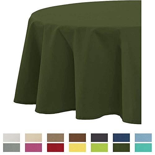 REDBEST Tischdecke, Tischwäsche Uni Seattle, 100% Baumwolle - Robustes, glattes Gewebe, dunkelgrün Größe oval 140x190 cm (weitere Farben, Größen)