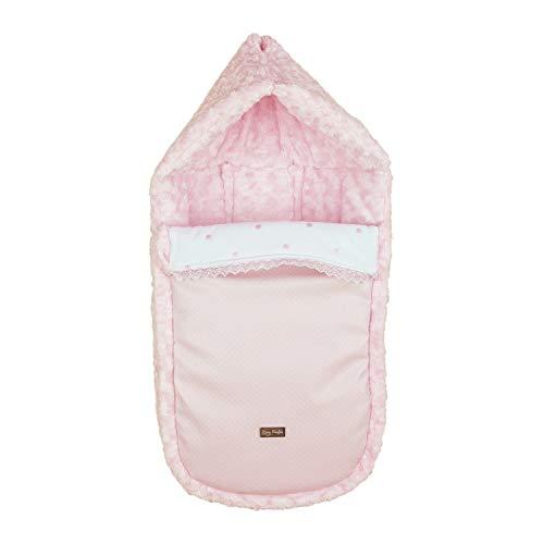 Saco/Arrullo para Capazo con arnes y capucha integrada Rosy Fuentes - Saco para Bebé Universal - Bonito Diseño - Resistente y Duradero - Elaborado en Ecopiel labrada y pelo - Color rosa