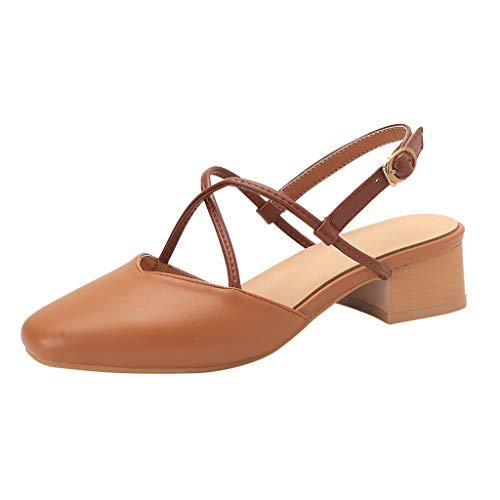 Damen Spitz Pumps Slingpumps Mittelhohem Blockabsatz Knöchelriemen, Elegante Schuhe Frühling Sommer Sandalen Bequem Spangenpumps Celucke