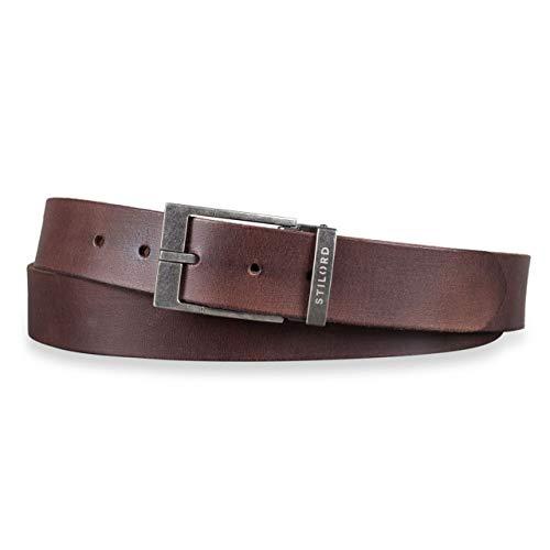 STILORD Vintage Cinturón Cuero Hombre Marrón Universal Recortable para Looks Business Casual y Vaqueros 34 mm 100% Piel auténtico cresto - marrón, Color:hebilla plateada antigua I I