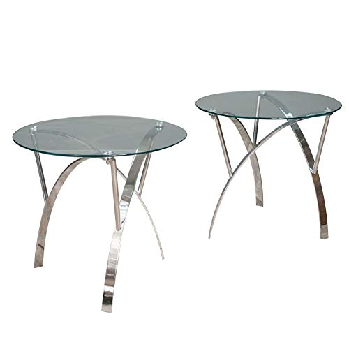 Christopher Knight Home Marin Round Glass End Tables, 2-Pcs Set, Clear Tempered Glass