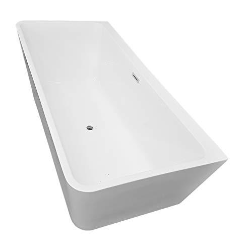 Bernstein Badshop Freistehende Badewanne Acryl VENEZIA Standbadewanne eckig weiß - 170 x 80 cm