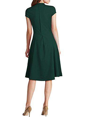 Arhyyie Women's 1940s Vintage Rockabilly Ball Gown Flared Dress Swing Skaters M Green