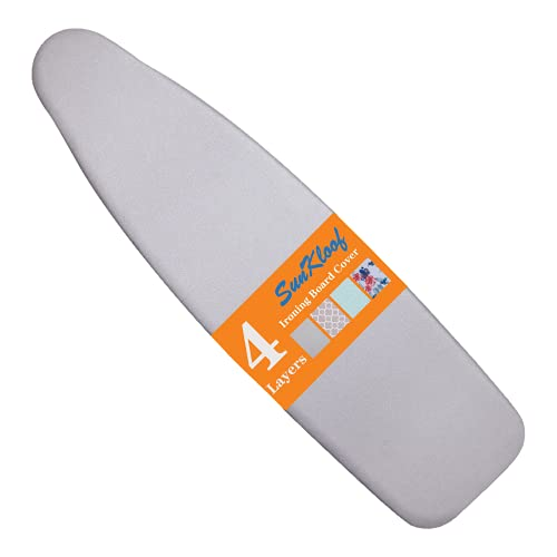 SUNKLOOF Silicone Coating Ironing Board Cover and Pad Resists Scorching and StainingIroning Board Cover with Elasticized Edges and Pad 15'x54' 4 Fasteners and 1 Large Protective Scorch Mesh Cloth