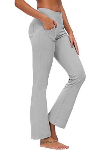 TownCat Pantaloni Sportivi da Donna Pantaloni da Yoga Flare Pantaloni Fitness Pantaloni da Yoga con Tasche (Grigio Scuro, L)