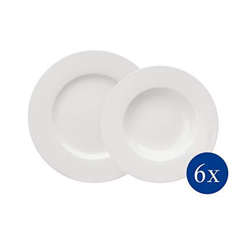 vivo by Villeroy & Boch Group Basic White Juego de mesa, 12 piezas, Porcelana Premium, Blanco