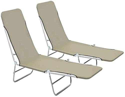 Folding Sun Loungers, Set of 2 Portable Folding Lounge Chair Recliners Beach Bed for Outdoor Garden Beach Pool Patio Deck, Taupe, 22' x 71.7' x 9.6', Load Capacity: 264.6 lbs