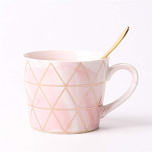 xingfuankang Tazas Y Tazas De Cerámica De Mármol De Geometría Creativa Chapado En Oro Rosa Leche Café Té Desayuno Taza De Porcelana con Cuchara 1Pc-1
