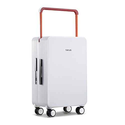 トロリースーツケース PC プラスチック箱 手荷物 耐久性 静音 超軽量 大型 8輪(白 73L 66.5cm 5.3KG)