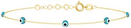 GELIN 14k Solid Gold Turquoise Evil Eye Beaded Station Chain Strand Bracelet Charm Bracelets product image