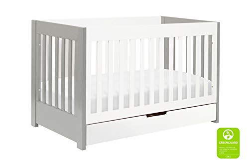 Babyletto Mercer 3-in-1 Convertible Crib with Toddler Bed Conversion Kit, Grey / White