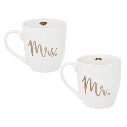 in due Tassen 'Mr & Mrs' 2er Set Weiß & Gold – glänzendes Gold - Kaffeetasse Geschenk zur Hochzeit, Geburtstag oder Weihnachten – Mann & Frau