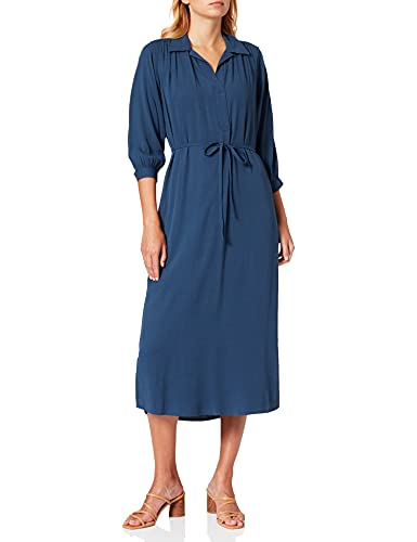TOM TAILOR Damen Maxi Kleid, Blau (10378 - Dark Denim Blue), 44