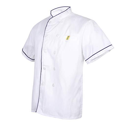 Milageto - Chaqueta de trabajo de hombre de manga corta Uniforme de cocinero, abrigo transpirable para hotel, talla 5 punti blu L