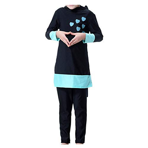 Xinvivion Muslimische Badebekleidung für Mädchen - 2 Stücke islamisch Arabisch Burkini Tankinis Schwimmkostüme Mittlerer Osten Kinder Badeanzug Befestigt Schwimmhaube