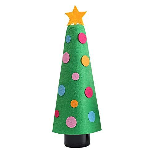 WWLIN Patrón de árbol de Navidad Cubierta de Botella de Vino Bolsas Mesa de Comedor Decoración de Botella de Vino Puntos Forma de árbol Cubierta de Botella de Vino Decoración de Navidad