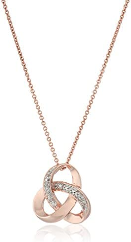 Sterling Silver Diamond Accent Knot Pendant Necklace , 18″