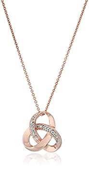 Amazon Collection 14K Rose Gold over Sterling Silver Diamond Knot Pendant Necklace 18