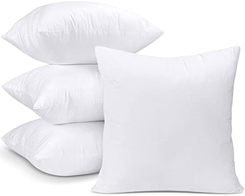 Utopia Bedding Set di 4 Cuscini - 45 x 45 cm Imbottitura per Cuscini - Tessuto Misto Cotone Cuscini Divano - Cuscino Interno (Bianco)