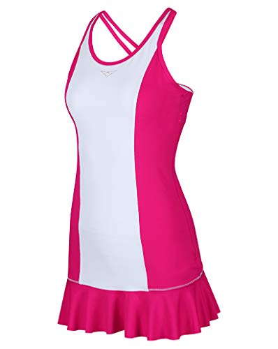 Bace Girls Pink and White Tennis Dress; Girls Tennis Dress with Flared Skirt; Junior Tennis Dress; Girls Golf Dress; Kids Golf Clothing; Girls Sportswear; (Pink, 10-11 Years Old)