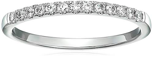 1/5 cttw Pave Diamond Wedding Band 14K White Gold Bridal Ring Prong Set Size 9.5