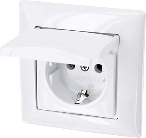 Enchufe con tapa todo en uno, con marco, con caja para empotrar y cubierta (Serie G1color blanco)
