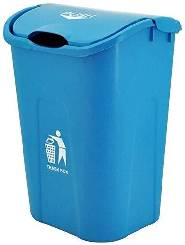 Papeleras La basura al aire libre puede, con la tapa plástica creativa Cubo de la basura, for uso doméstico Cocina Jardín Garaje Tienda restaurante de cocina de alta capacidad Cubo de basura, azul, 40